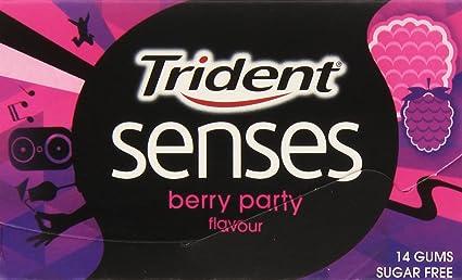 Trident Senses Berry Party Chicle sin Azúcar con Sabor a Frutos Rojos - 27 g