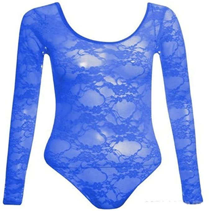 368c5f5a00 New Womens Plus Size Floral Lace Body Suits Long Sleeve Leotard Lace Tops  (16