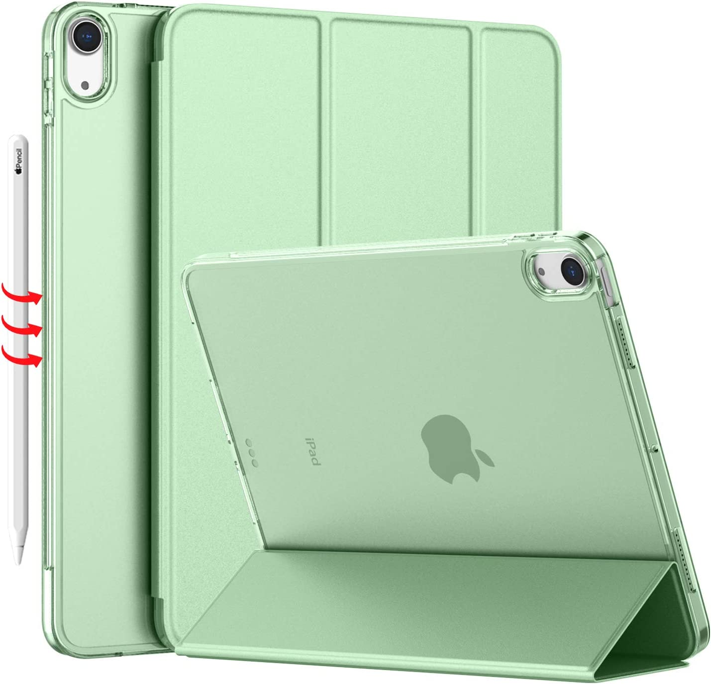 iMieet iPad Air 4 Case 2020 - iPad Air 4th Generation Case 10.9 Inch Lightweight Slim Cover with Translucent Frosted Hard Back [Support Touch ID](Matcha Green)
