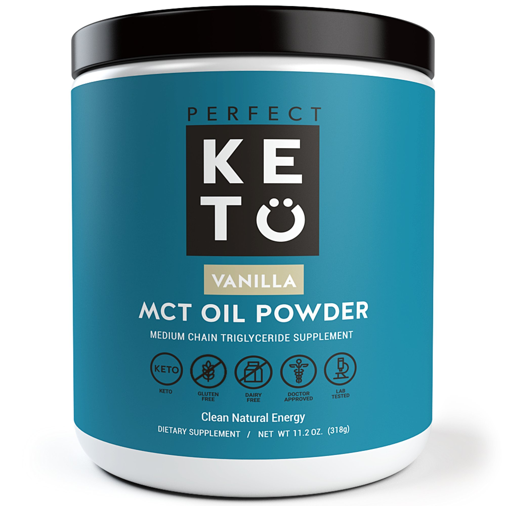 Perfect Keto MCT Oil Powder: Vanilla Ketosis Supplement (Medium Chain Triglycerides - Coconuts) for Ketone Energy - Paleo Natural Non Dairy Ketogenic Keto Coffee Creamer