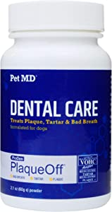 Pet MD Proden PlaqueOff Dog Teeth Cleaning Dental Care Powder - Oral Care Supplement for Dogs - Reduce Bad Breath, Tartar, & Plaque - 60g
