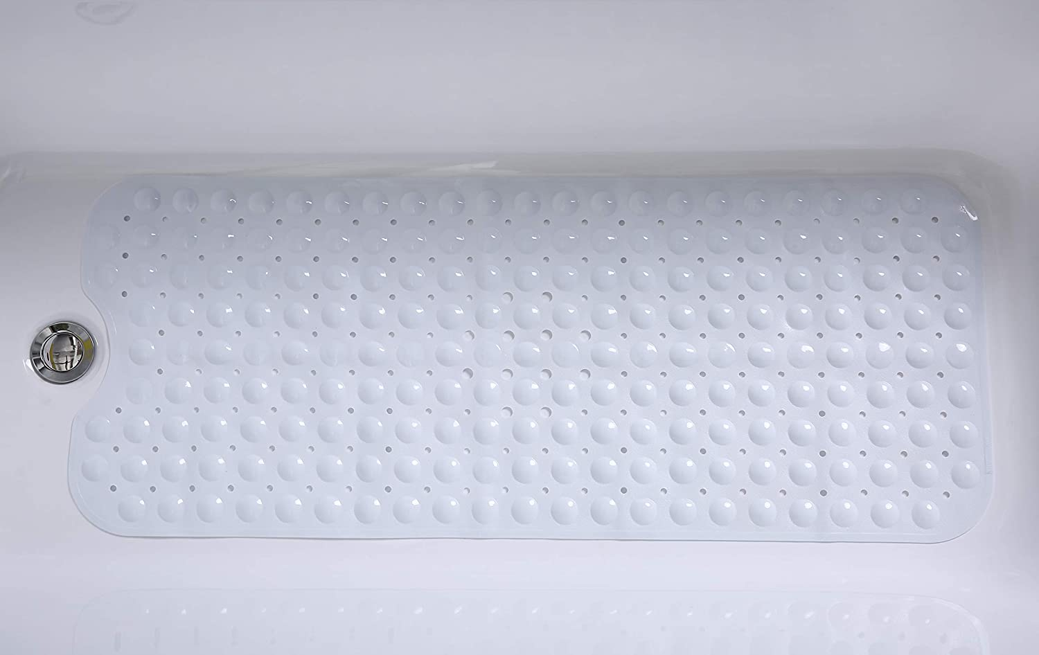 """TIKE SMART Extra-Long Non-Slip Bathtub & Shower Mat 39""""x16"""" (Smooth/Non-Textured Tubs Only) Safe,Clean,Anti-Bacterial,Machine-Washable,Superior Grip&Drainage, Vinyl, Opaque White: Home & Kitchen"""
