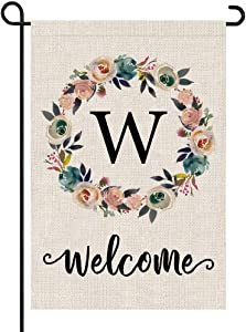 PARTY BUZZ Monogram Wreath Letter W Burlap Garden Flag Floral Initial, Double Sided, 12.5 x 18 Inch, Small Mini Outdoor Yard Flag
