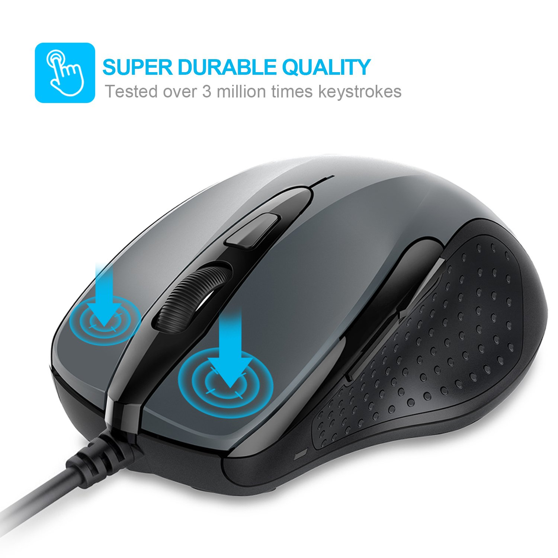 TECKNET Wired Maus Optical Business Mouse Verdrahtete Ergonomische Maus mit 6 Tasten 2 Verstellbare DPI Level USB-Kabel 140 cm