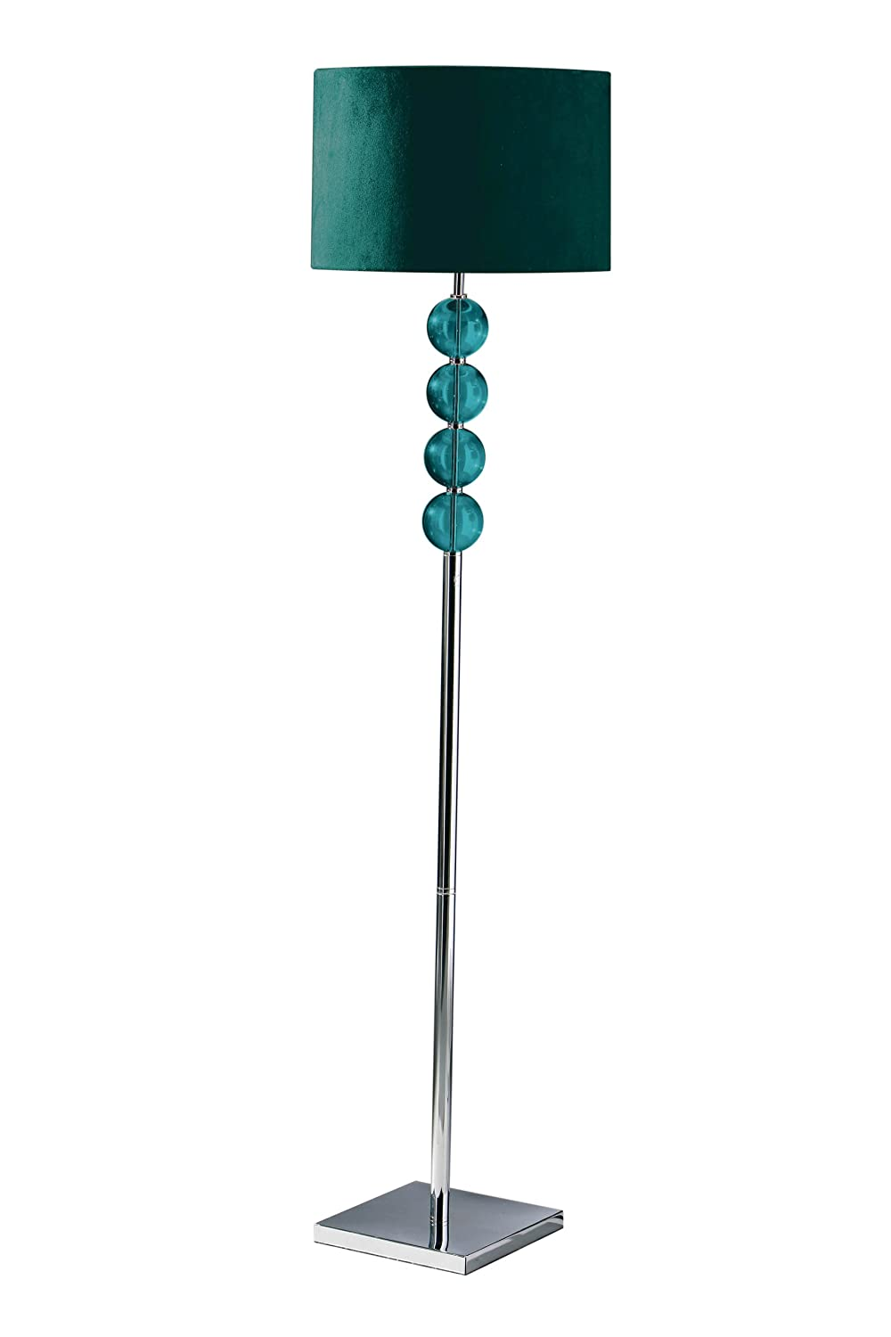 Premier Housewares Mistro Teal Floor Lamp With 4 Glass Balls Chrome Base  And Faux Suede Shade: Amazon.co.uk: Lighting