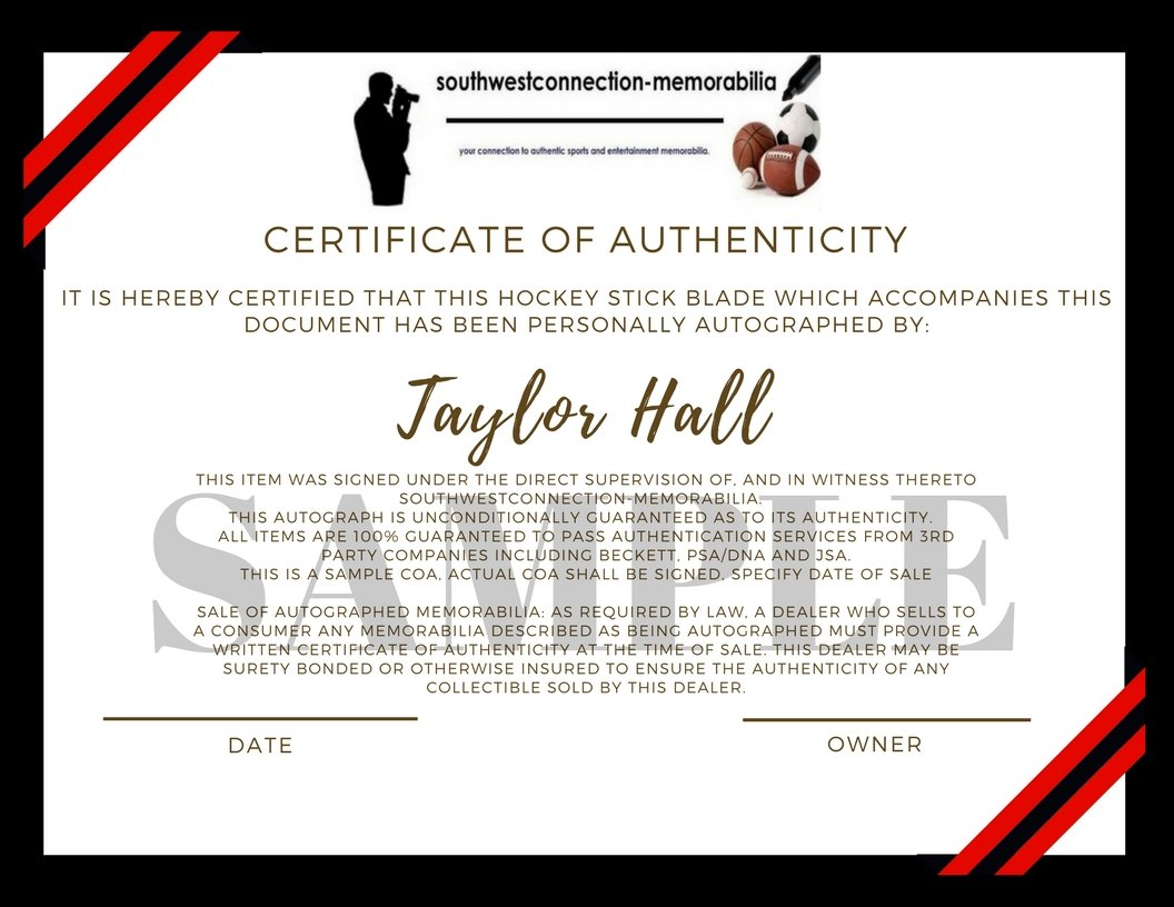 New Jersey Devils Taylor Hall Autographed Hand Signed NJ Devils Logo Ice Hockey Stick Blade with Proof Photo of Signing, COA
