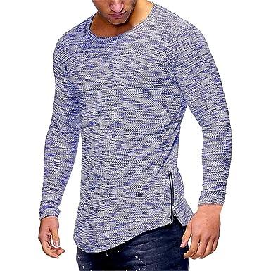 aa80af84 Viahwyt Men's Casual Sport Autumn Long Sleeve Tee Shirt Slim Fit Side  Zipper Tops (Blue