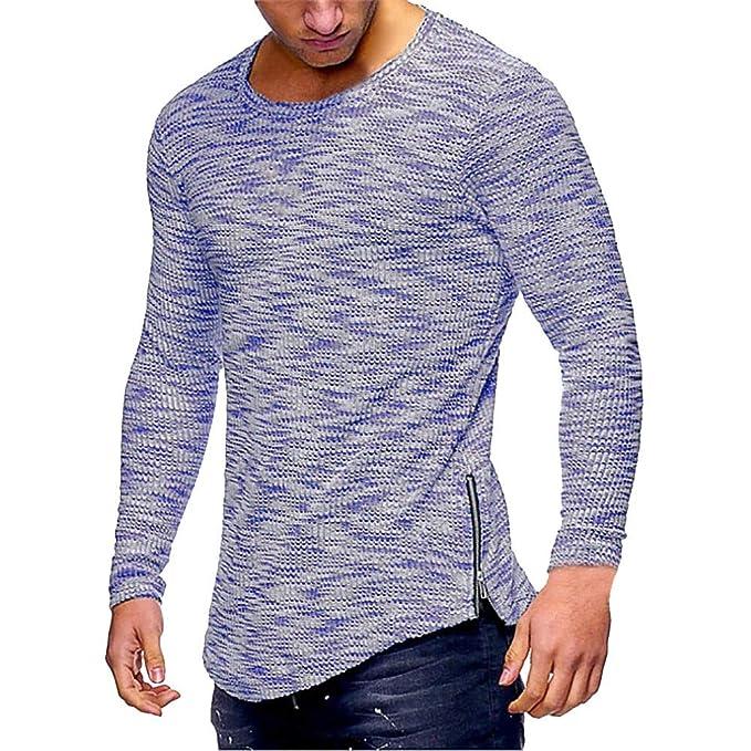 Yvelands Camiseta Casual para Hombre, Cuello Redondo con Cuello Hem Slim Fit Camisas de Manga