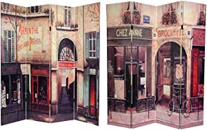 Oriental Furniture 6 ft. Tall Double Sided French Cafe Canvas Room Divider