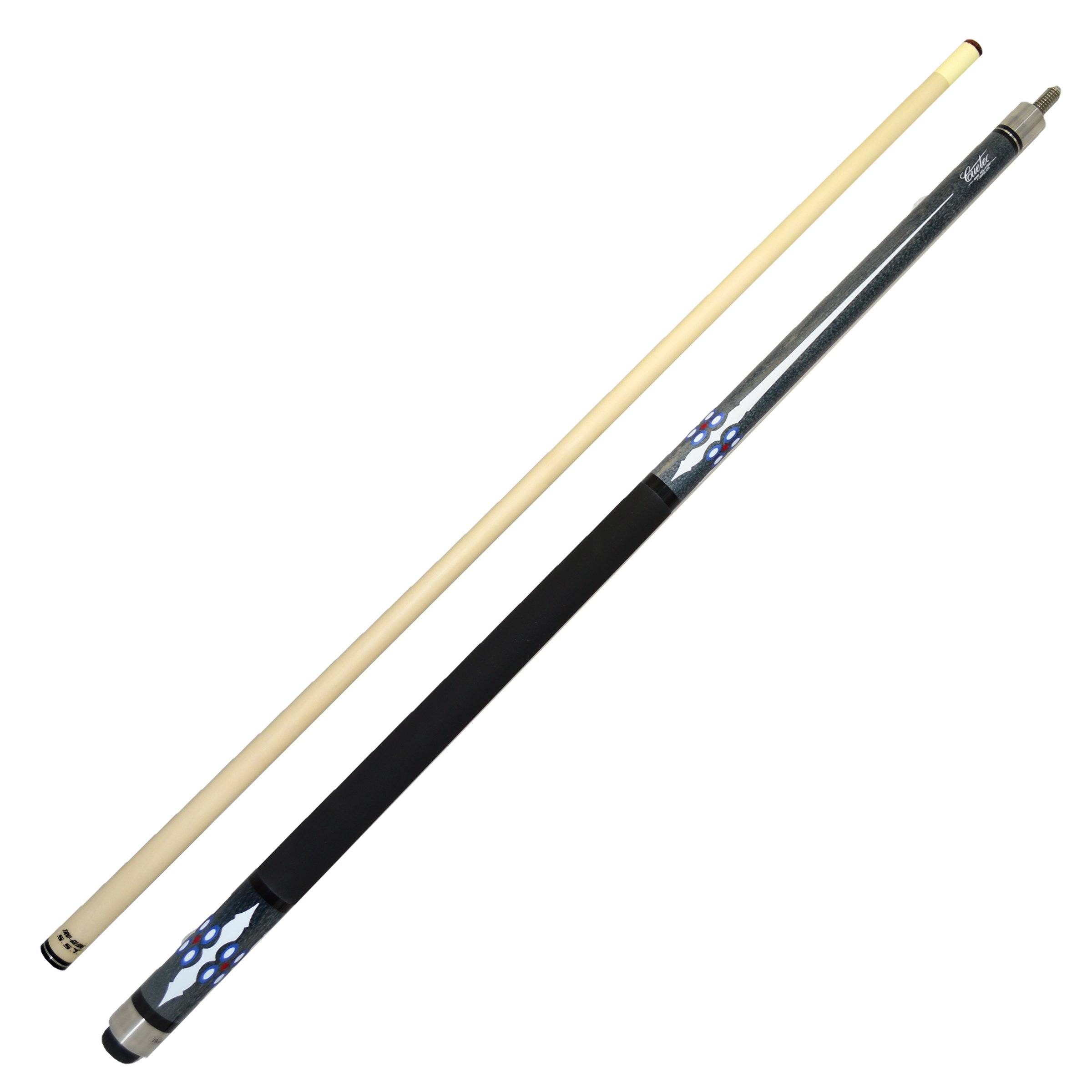 Cuetec Denali Series 58'' 2-Piece Canadian Maple Billiard/Pool Cue, Grey with White Points