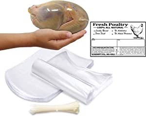 """Poultry Shrink Clear Bags(L)- 10""""x 16"""" Chickens or Rabbits-w/zip ties and Freezer Labels included (50)"""