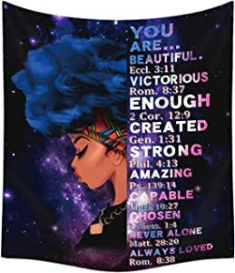 African American Black Girl Tapestry Wall Hanging Throw Tablecloth Bedspread Home Decor,Inspirational Tapestry Hippie for Bedroom Living Room Dorm Office Kids Room 59.1*52.1 Inches