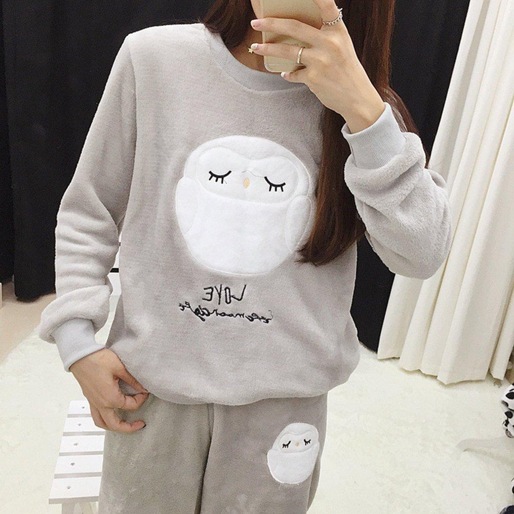 OULII Fleece de invierno pijamas de dormir de franela pijama casual manga larga camis/ón talla L gris