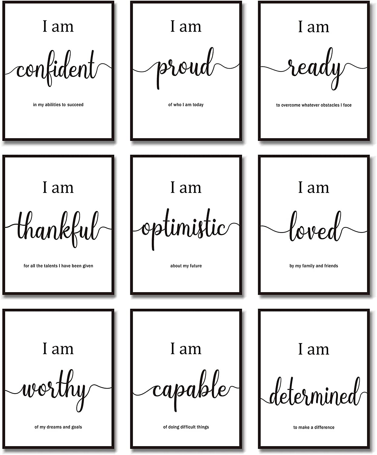 9 Pieces Inspirational Motivational Wall Art Office Bedroom Wall Art, Daily Positive Affirmations for Men Women Kids Inspirational Posters Inspirational Positive Quotes Sayings Wall Decor (White)