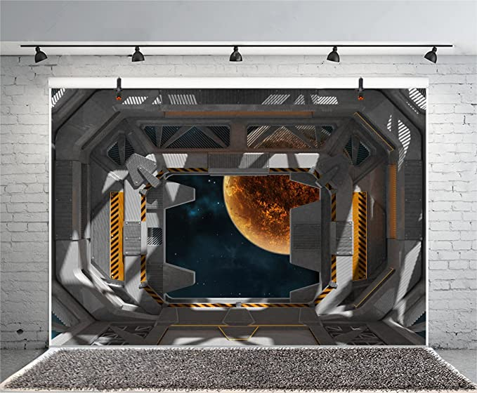 Spaceship Backdrop10x6.5ft Metal Grey Design Space Station Interior Window View Yellow PlanetBule Star Sea Backgroud Astronomy Science Modern Advanced Technology Studio Prop