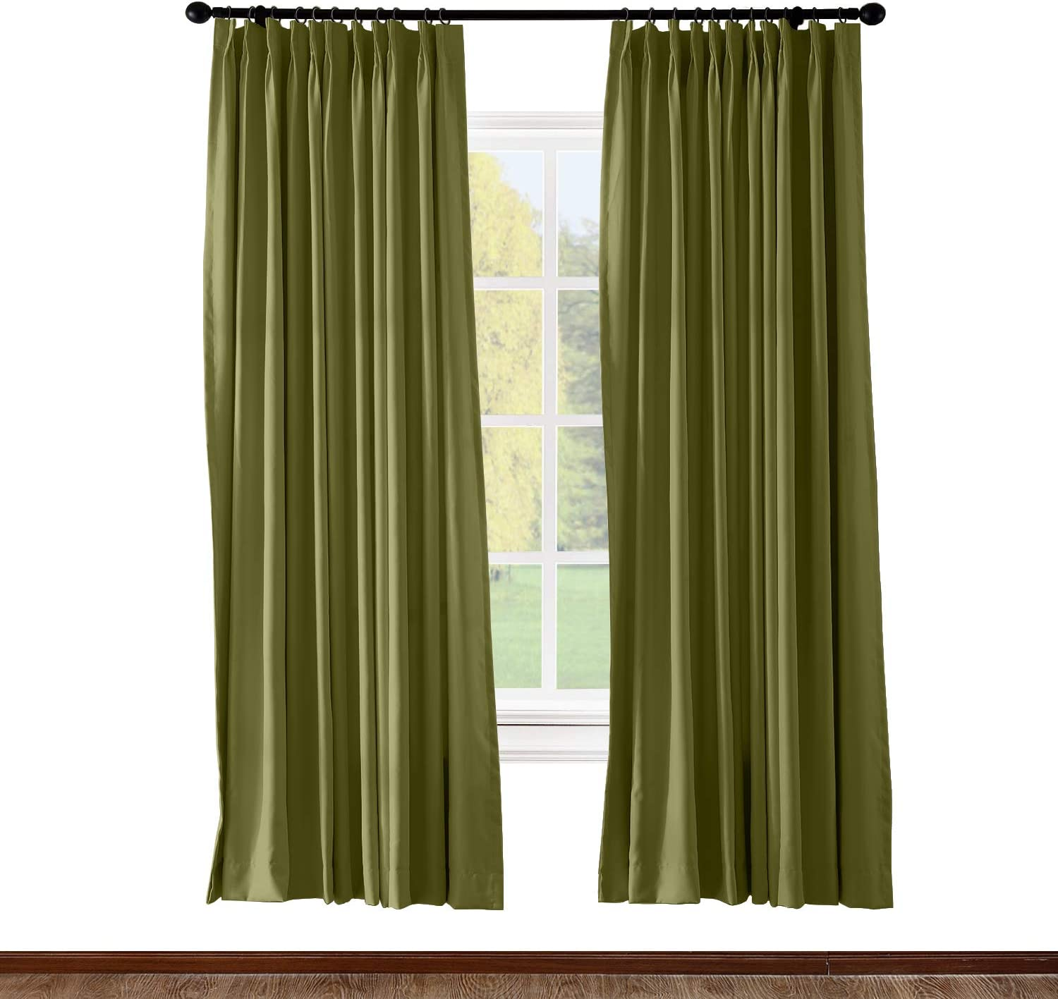 ChadMade Pinch Pleated Curtain 100W x 84L Inch Solid Thermal Insulated Blackout Patio Door Panel Drape for Traverse Rod and Track, Green (1 Panel)