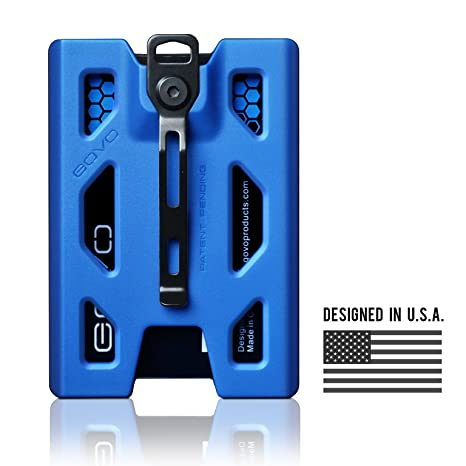 ce434231cafc4 Amazon.com   GOVO Badge Holder Wallet - Durable Polycarbonate ID Credit  Holder with Metal Clip and 4 Cards Slot (Holds 1 to 4 Cards) (Blue)   Office  ...