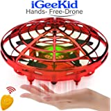 iGeeKid Hand Operated Mini Drones Kids Flying Ball Toy for Boys Girls Age 4-14 Year Infrared Induction Helicopter UFO…
