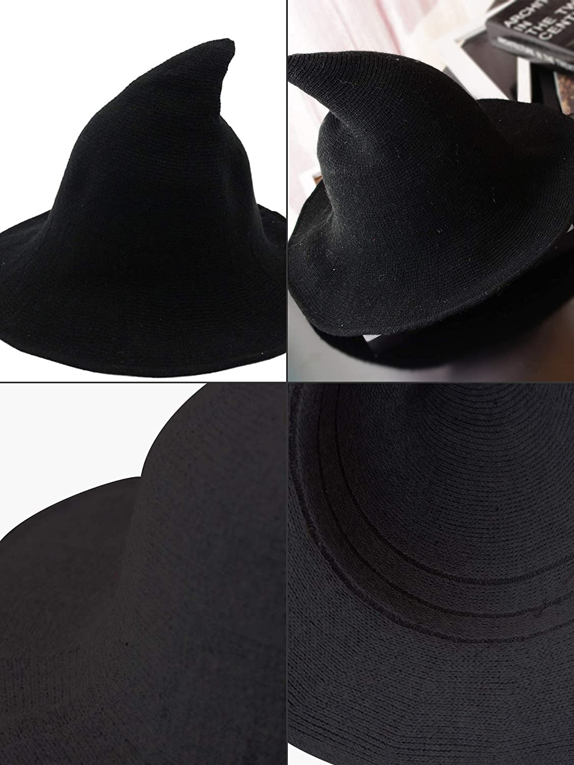 Trounistro 2 Pack Halloween Witch Hat Warm Wool Hats for Women Halloween Party Decor