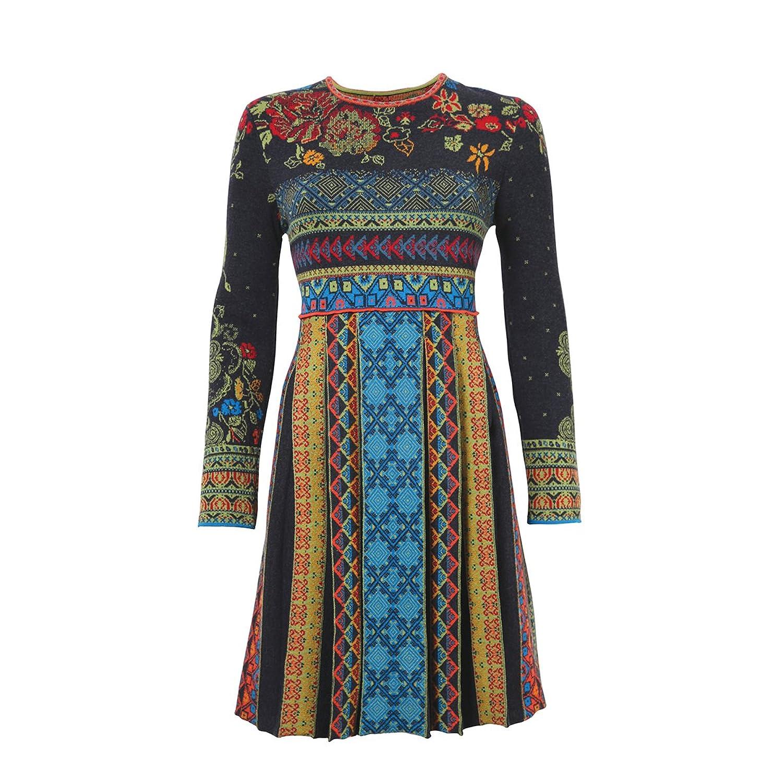 Zauberhaftes Jacquard-Kleid mit weitem Rock von Ivko in Anthrazit Gr.38