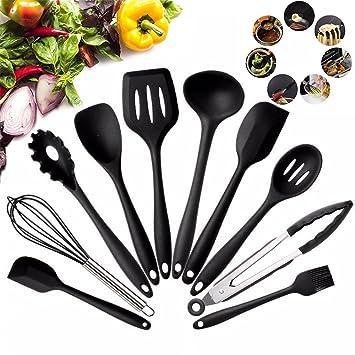 10 utensilios de cocina de silicona, galwad, 10 piezas, de alta calidad, de silicona, para cocina, ...