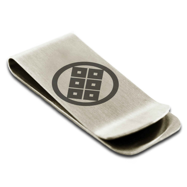 Stainless Steel Shoni Samurai Crest Engraved Money Clip Credit Card Holder