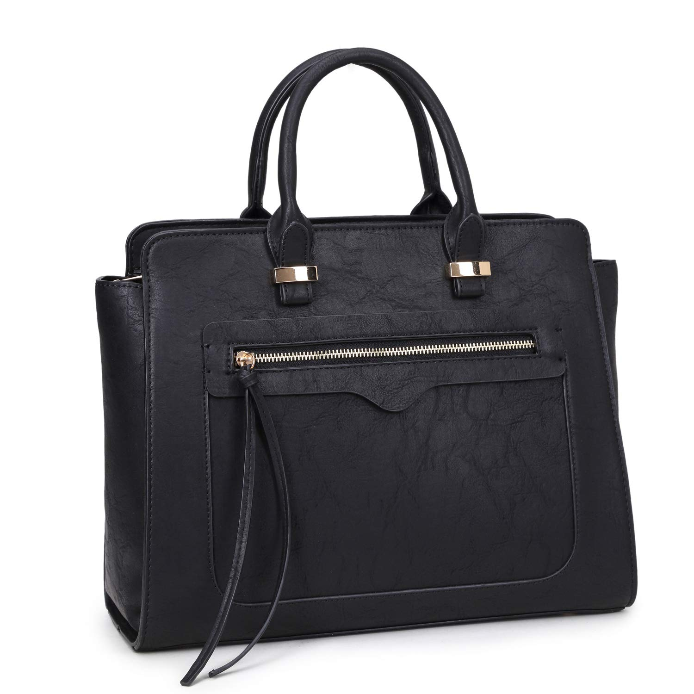 873c46155a1 Amazon.com  Dasein Women Medium Structured Patent Faux Leather Satchel with  Zipper Front Pocket  Shoes