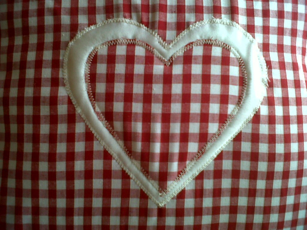 Cushion Covers Set of 2 Red Gingham & White Outline Heart 16