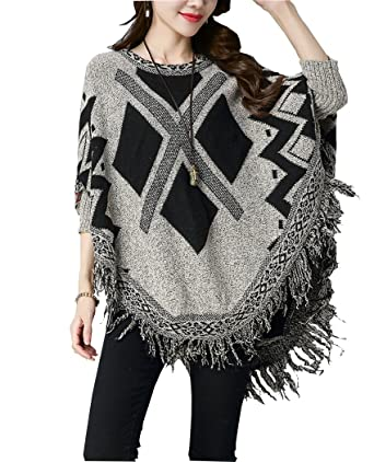 9f2ea9748f0 Womens Plus Size Knitted Pullover Ponchos Capes Shawls Sweater Coat with Tassels  Grey One Size