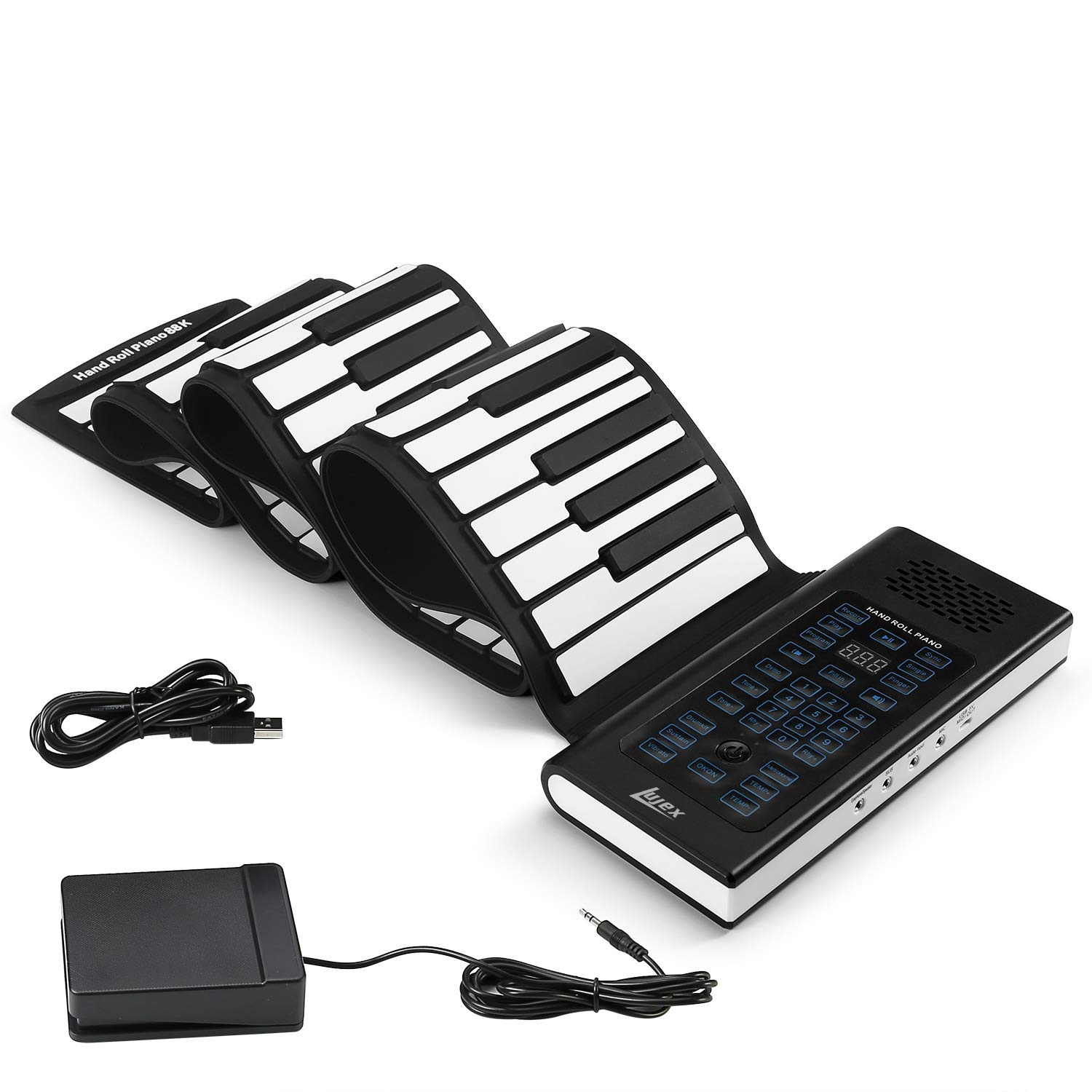 Lujex 88-Keys Roll Up Piano,Upgraded Portable Rechargeable Electronic Hand Roll Piano with Environmental Silicone Piano Keyboard for Beginners by Lujex