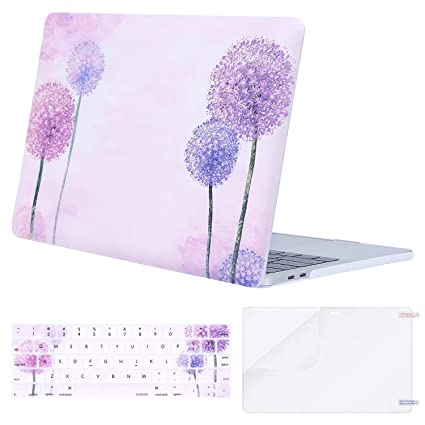 MOSISO MacBook Pro 13 inch Case 2019 2018 2017 2016 Release A2159 A1989 A1706 A1708,Plastic Flower Pattern Hard Case&Keyboard Cover&Screen Protector ...