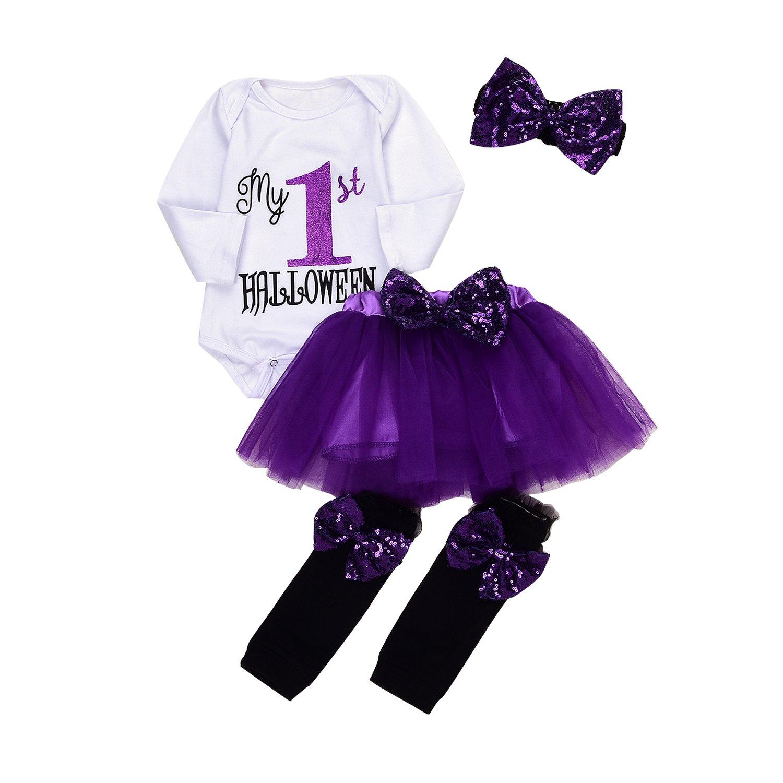 4Pcs Baby Girls My 1st Halloween Sequins Romper+Chiffon Tutu Skirt+Bowknot Leggings+Bunny Headband Outfit Set (Purple, 0-6M)