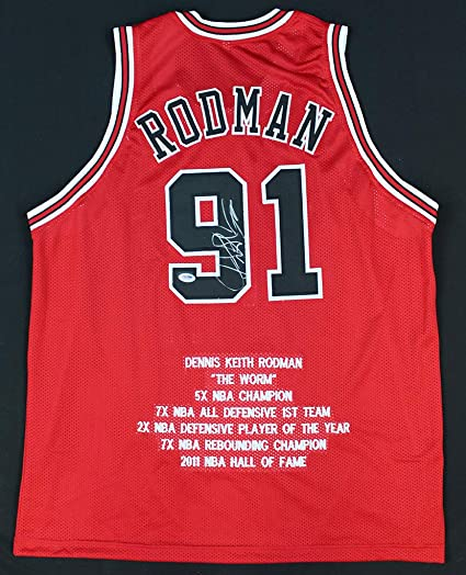 3dac7a3b44a Dennis Rodman Autographed Red Chicago Bulls Stat Jersey - Hand Signed By Dennis  Rodman and Certified