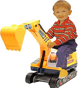 Childrens Ride on Digger Kids Excavator Truck Toy Tractor with Safety Helmet UK