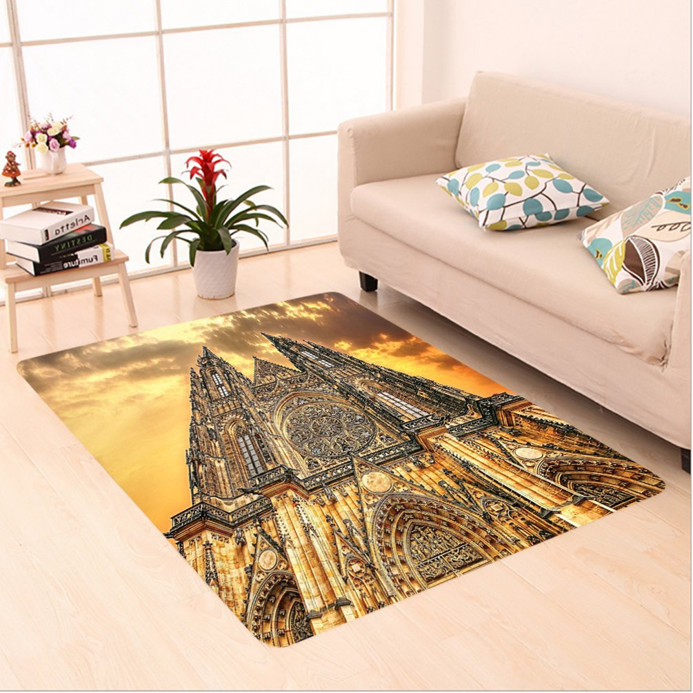 Nalahome Custom carpet holic Gifts Sunset Tower Medieval Architecture Prague Picture Believe Art Christian Brown Orange area rugs for Living Dining Room Bedroom Hallway Office Carpet (6' X 9') by Nalahome