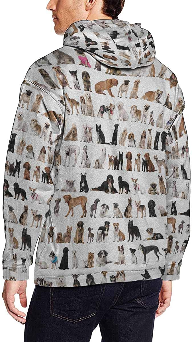 INTERESTPRINT Various Puppy Dogs Long-Sleeve All Over Print Mens Hoodie