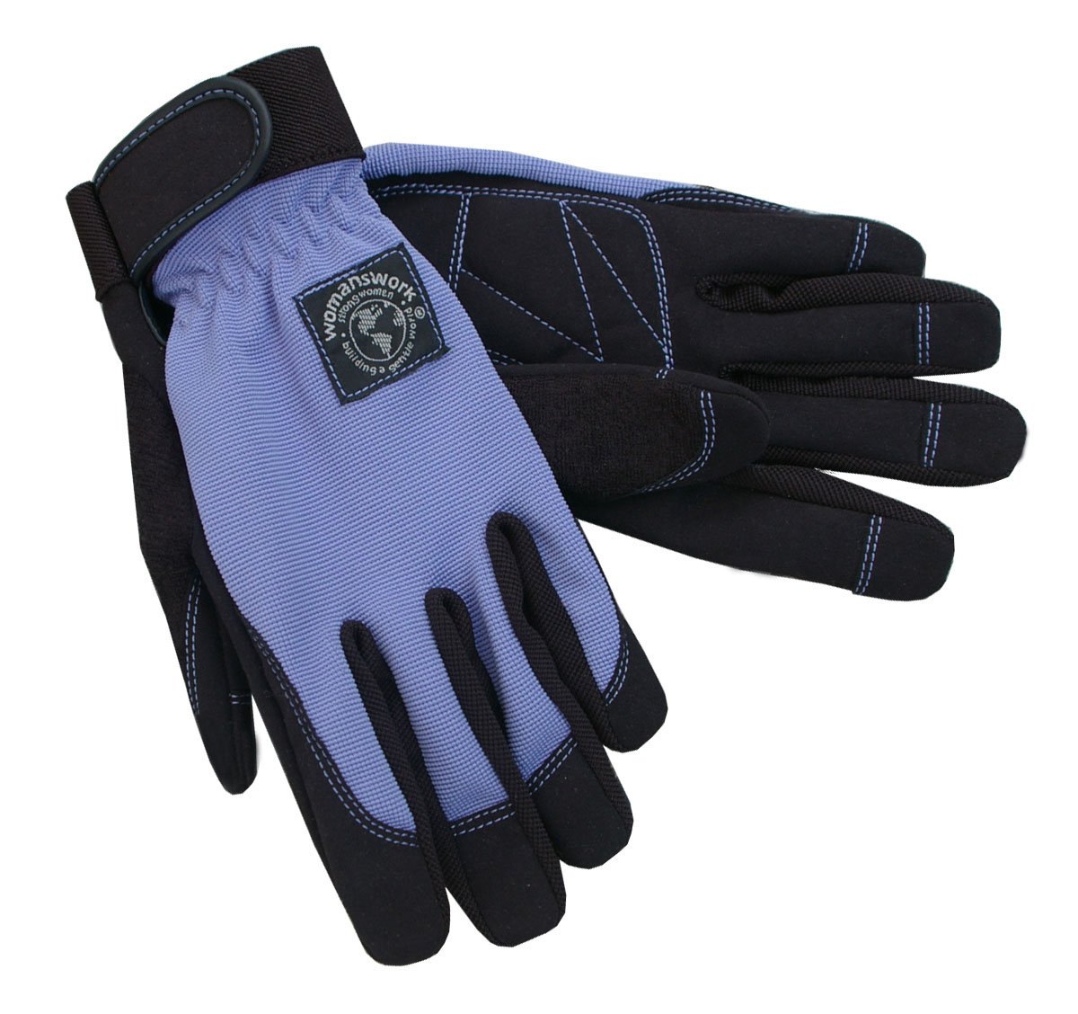 Womanswork Stretch Gardening Glove with Micro Suede Palm, Periwinkle Blue, Medium