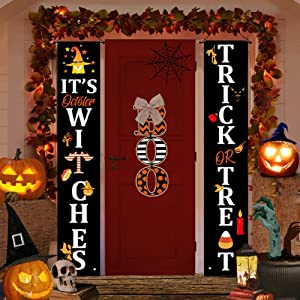 Halloween Decorations Outdoor Decor Clearance, Trick Or Treat & Boo Door Hanging Sign Banner for Fall Porch Home Indoor Decor, Cute Witch Wreaths, Outside Front Cheap Decor (White)