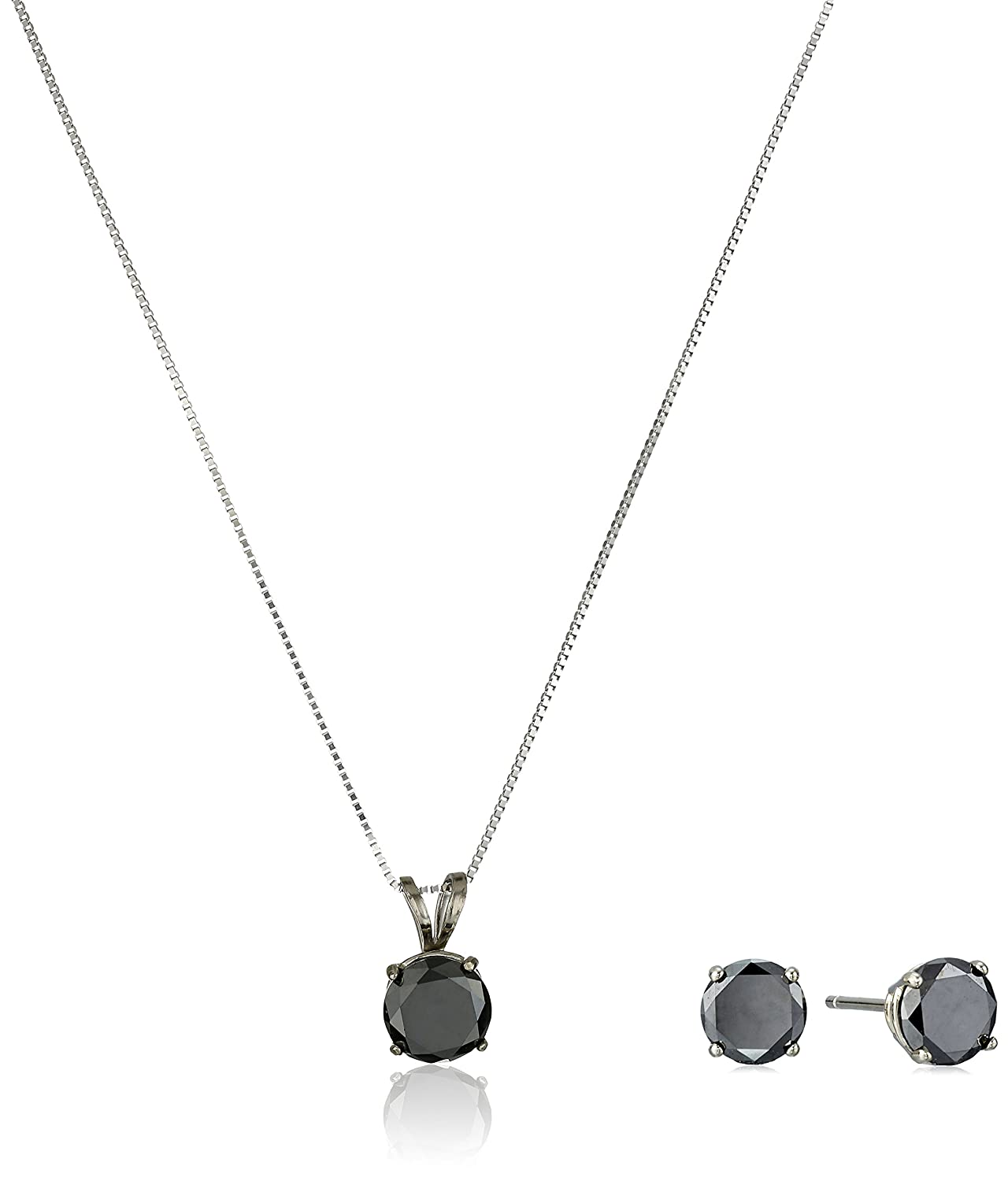 silver chain products inch pendant sterling in ct with necklace black diamond