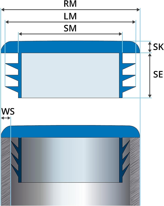 1 pcs Bouchon pour tuyau carr/é 50x50 mm noir plastique Capuchon Bouchons