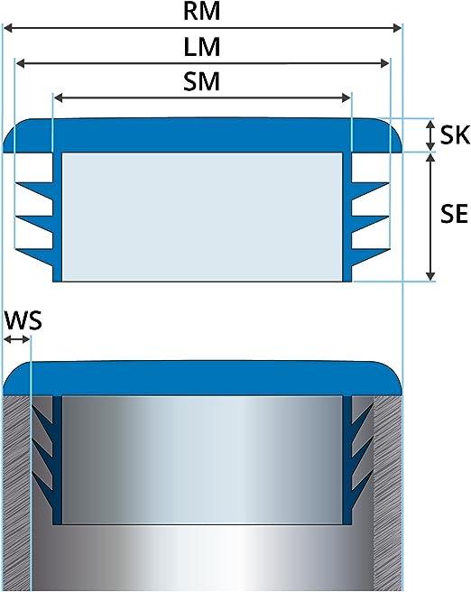 bouchon pour tube rectangulaire 30x20 blanc plastique Embout bouchons dobturation 5 pcs