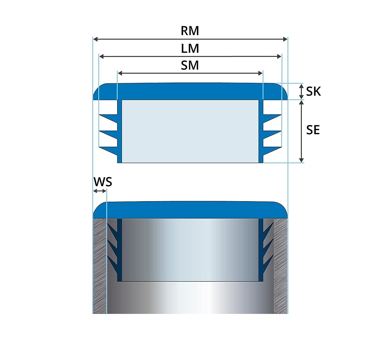 10 Stck Quadratstopfen 80x80 mm Wei/ß Kunststoff Lamellenstopfen Abdeckkappe