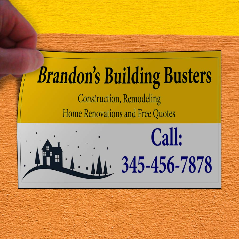 Custom Door Decals Vinyl Stickers Multiple Sizes Name Building Busters Phone Number Industrial /& Craft Construction Outdoor Luggage /& Bumper Stickers for Cars Yellow 24X16Inches Set of 10