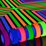 Whaline 6 Colors Neon Gaffer Cloth Tape, Fluorescent UV Blacklight Glow in The Dark Tape for UV Party (0.6 inch x 16.5…