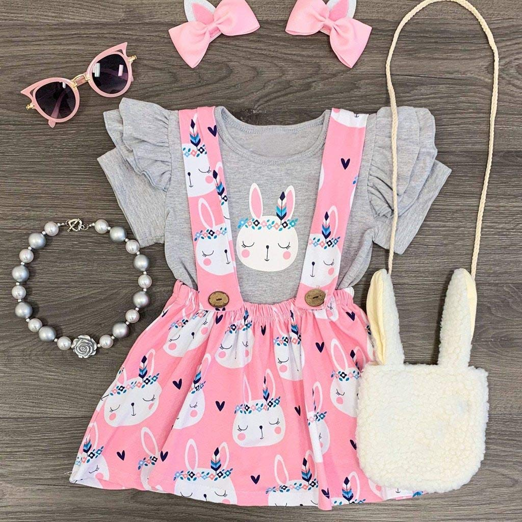 The Stock Pile Cute Girls Clothing Sets Baby Kids Easter Rabbit Bunny Tops