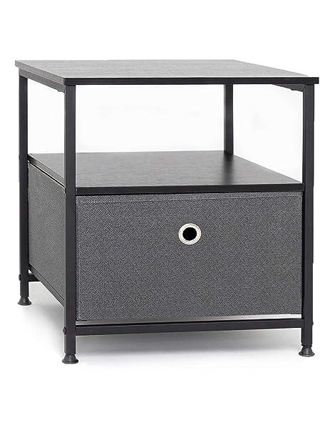 Suhu Comodino Camera da Letto Metallo con 1 Ripiano Aperto Comodini Piccolo  Design Mini Cassettiera Basso Quadrato Tavolino da Salotto Moderno ...