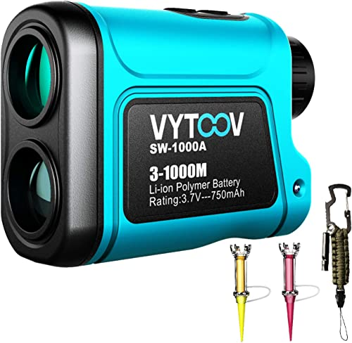 Hunting Range Finder,VYTOOV 6X Rechargeable Laser Golf Range finder 1094 Yards USB Charging Support Continuous Scan with Golf Tee and Emergency Paracord Kit for Golfing Hunting Hunting range finder