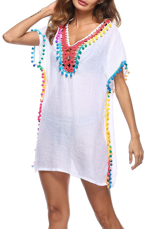 ee5802ac2b05f Amazon.com  JooMeryer Women s Pom Pom Trim Kaftan Swimsuit Tunic Cover Up  Beach Dress