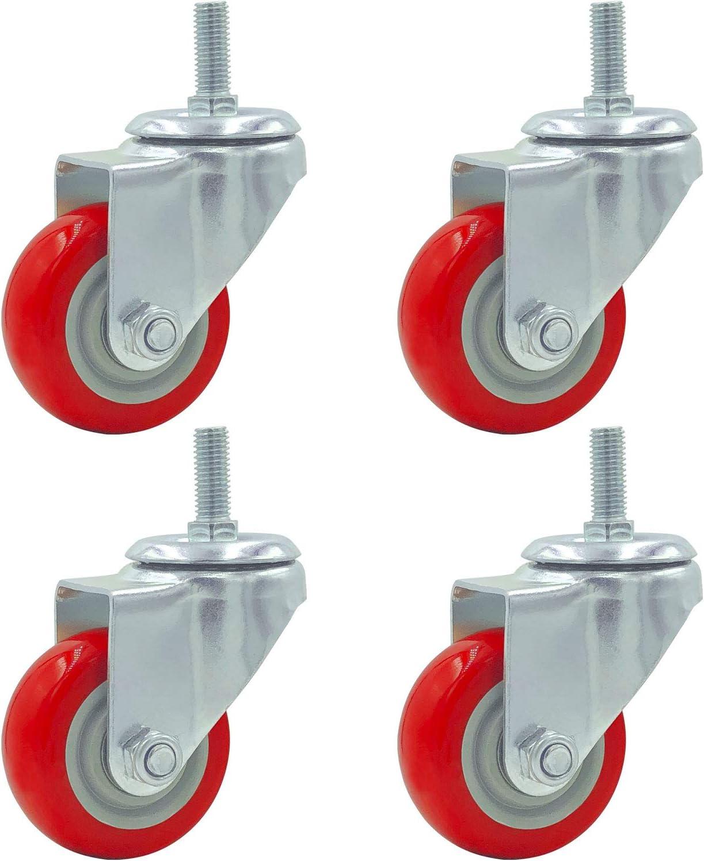 4 Pack Caster Wheels Swivel Plate Stem Casters On Red Polyurethane Wheels (3 inch Stem)