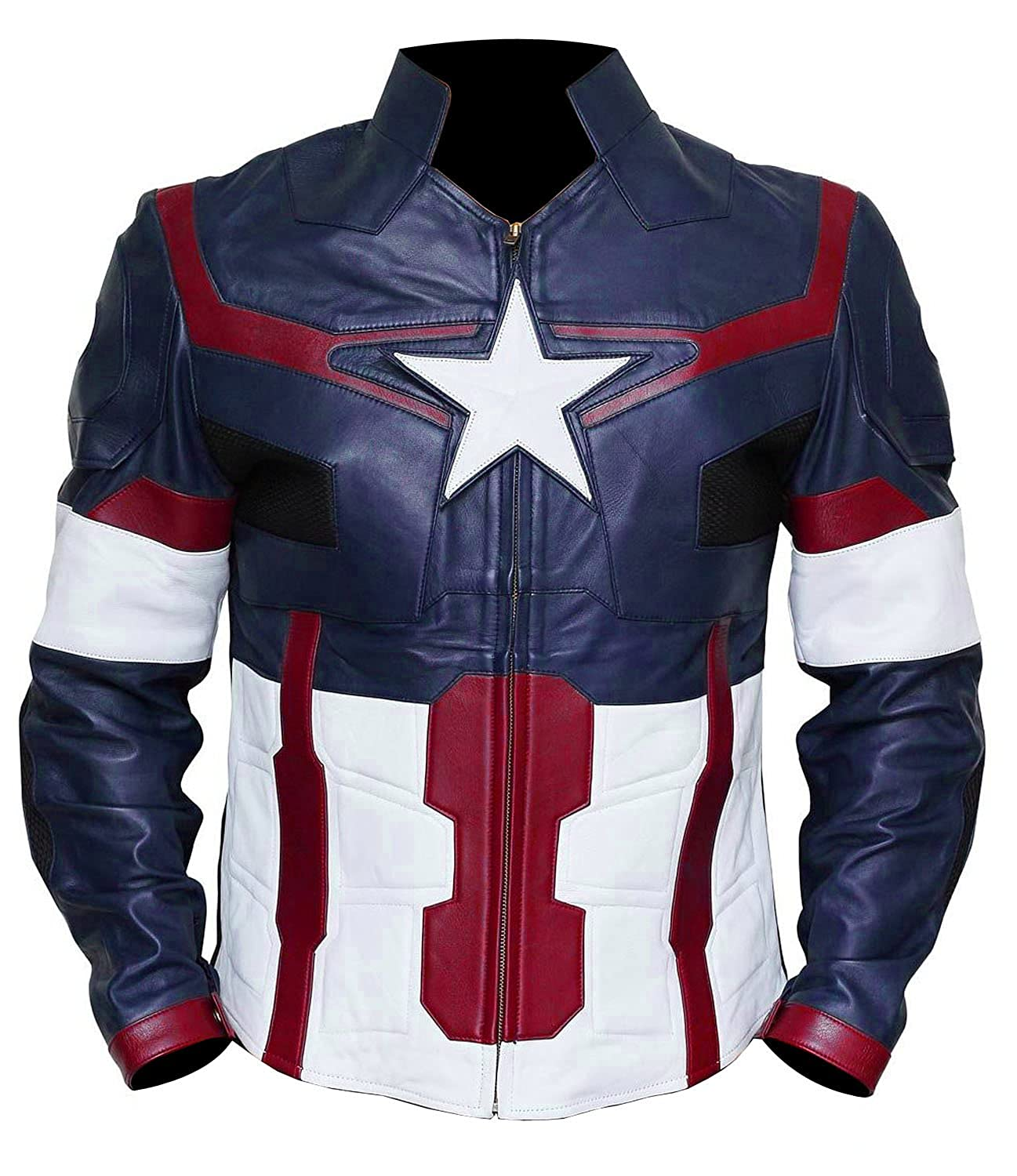 Men's Avengers: Age of Ultron Captain America Blue Faux Leather Jacket - DeluxeAdultCostumes.com